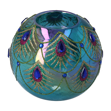 Glass Peacock Feather T Light Holder