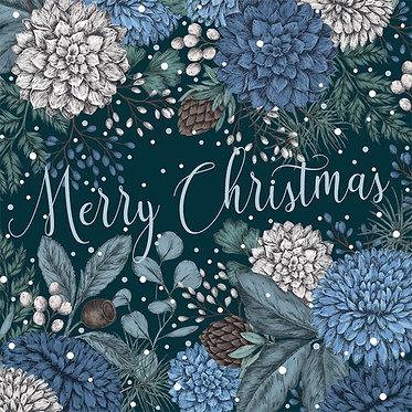 Luxury Christmas Card Box Sapphire and Snow