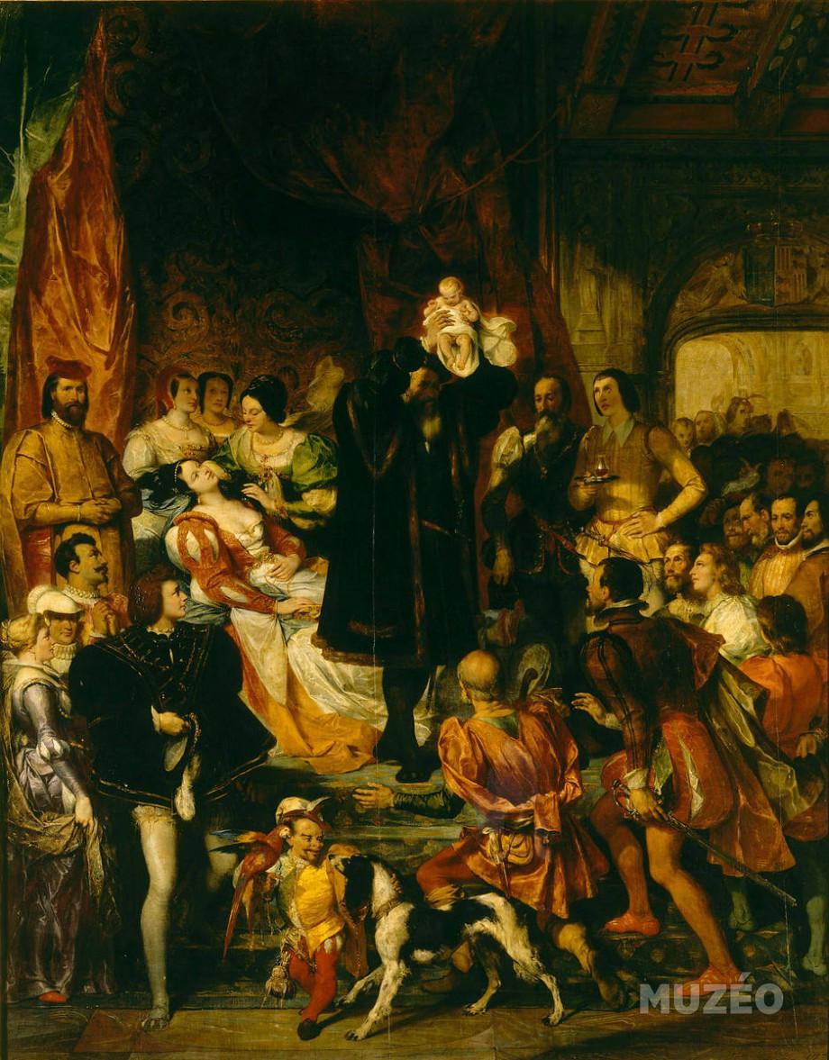 Eugène Dévéria, La Naissance d'Henri IV, 484 x 392 cm, huile sur toile, 1827, Paris, musée du Louvre.