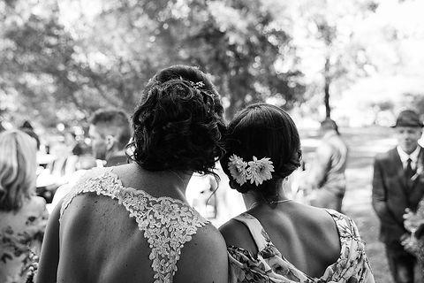 bride and bridesmaid, hair do