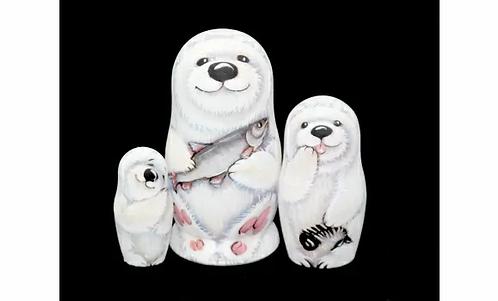 Matryoshka Umka Polar Bear/ 3 dolls/ 11cm
