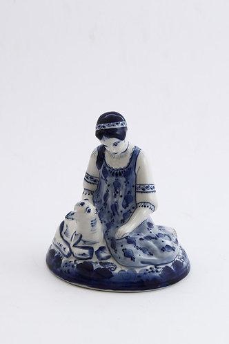 Alenushka Figurine. Blue&White Porcelain. Gzhel.