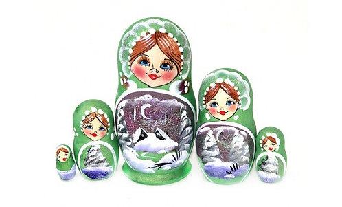 Matryoshka Winter / 5 dolls/ 9cm