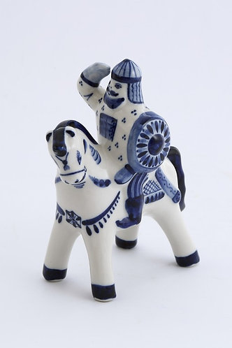 Bogatir' Figurine. Blue&White Porcelain. Gzhel.