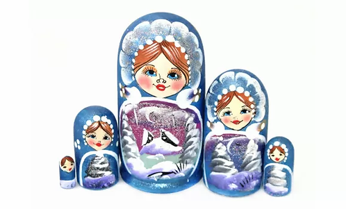 Matryoshka Winter/Blue / 5 dolls/9cm