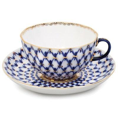 Tulip Cobalt Net Teacup w/ Saucer