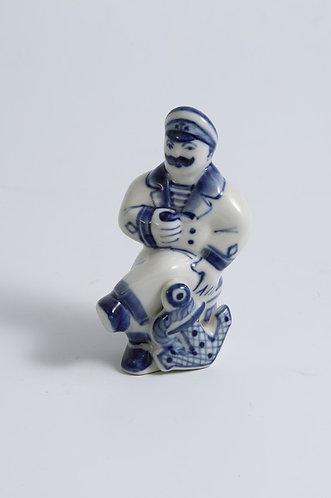 Boatswain Figurine. Blue&White porcelain. Gzhel.