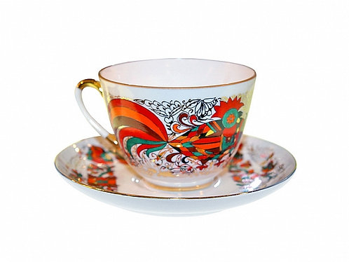 Cup & Saucer Red Rooster / 230ml