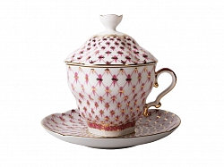 Covered Tea Mug & Saucer Pink Net/ 250ml