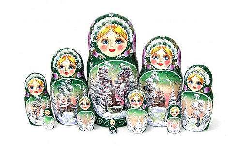 Matryoshka Winter Green /10 dolls/25cm
