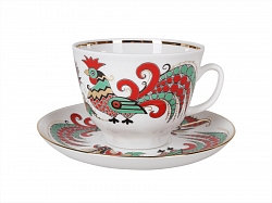 Tea Cup&Saucer Two Roosters
