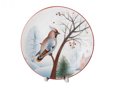 Decorative Wall Plate Waxwing