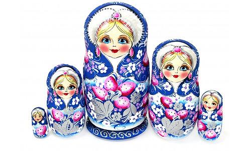 Matryoshka Winter Berries/ 5 dolls/ 18cm
