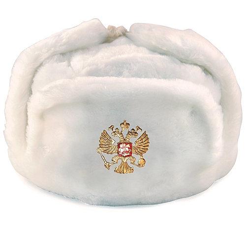 White Ushanka Hat with Ear Flaps
