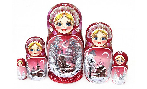 Matryoshka Winter Red / 5 dolls/ 18cm