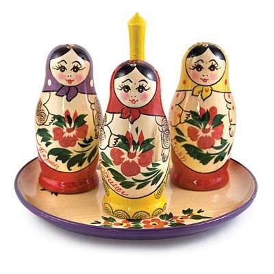 Semenovskaya Nesting Doll Spice Shaker Set