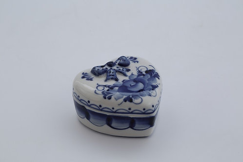 Heart Gift Box. Blue&White Porcelain. Gzhel.