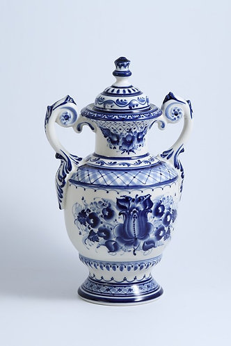 Lidiya Vase. Blue&White Porcelain. Gzhel.