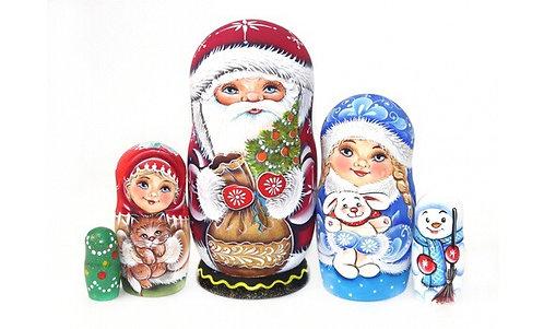 Matryoshka Santa&X-mas Tree/5 dolls/17cm