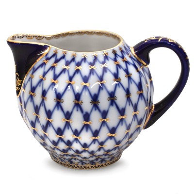Porcelain Cobalt Net Cream Jug