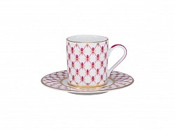 Сup with Saucer 100 ml/14 cm Solo Pink Net-Blues