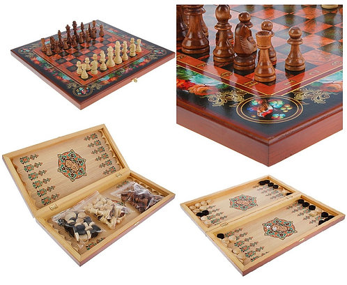 Large Chess, Backgammon & Checkers 3-in-1 Game Set