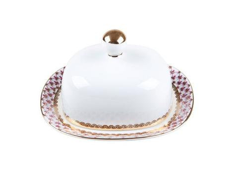 Butter Dish with Cover  Rectangular Pink Net