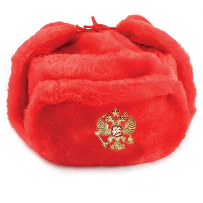 Red Ushanka Hat with Ear Flaps
