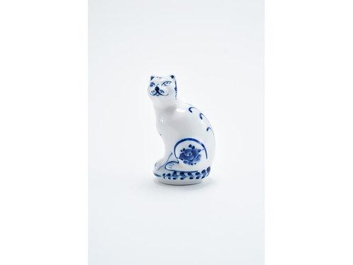 Cat Figurine. Blue&White Porcelain. Gzhel.
