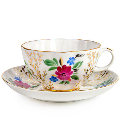 Golden Grass Teacup with Saucer