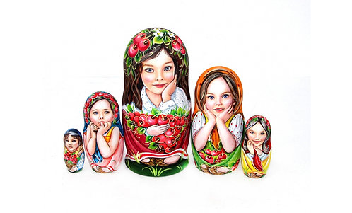 Matryoshka Girls &Cherries/5 dolls/17cm
