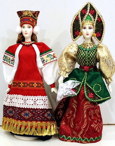 A RANGE OF DOLLS IN THE RUSSIAN COSTUMES