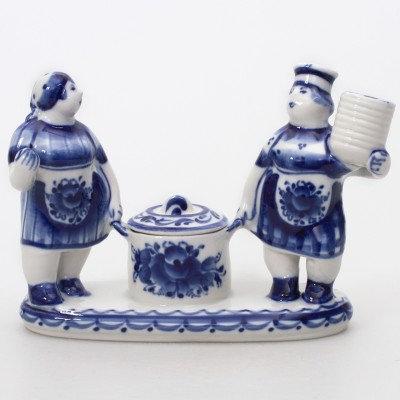 Two Chefs Salt Cellar. Blue&White Porcelain. Gzhel