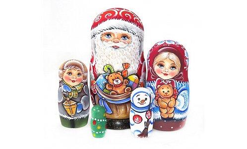 Matryoshka Santa&X-mas Gifts/5 dolls/17cm