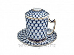 Covered Tea Mug & Saucer Cob Net /380ml
