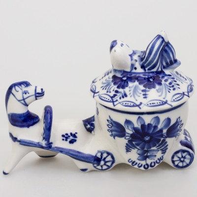 Loaded Cart Box. Blue&White Porcelain. Gzhel