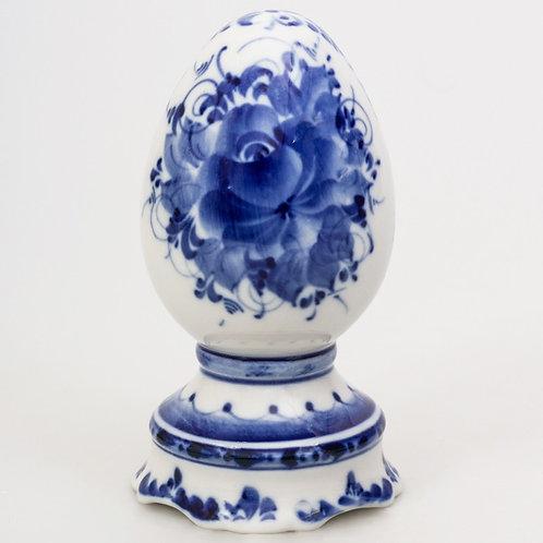 Gzhel Easter Egg. Blue and white porcelain