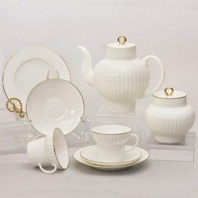 Golden Edge 21-Pieces Porcelain Tea Set for 6 Persons