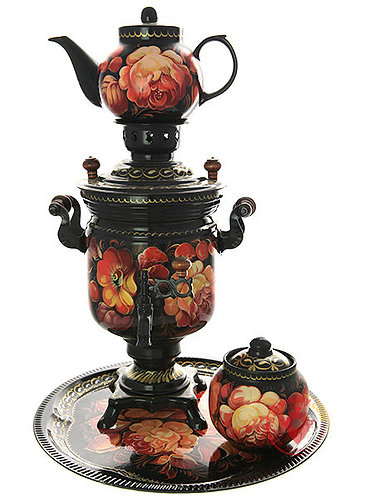Zhostovo On Black Electric Samovar Set with Tray & Teapot& Sugar Bowl