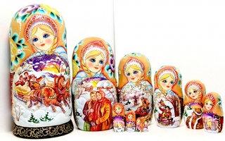 """Matryoshka """"Three Horses""""10 dolls"""