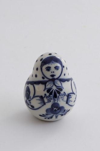 Matryoshka Figurine. Blue&White Porcelain. Gzhel.