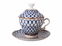 Covered Tea Mug & Saucer Cobalt Net 250ml