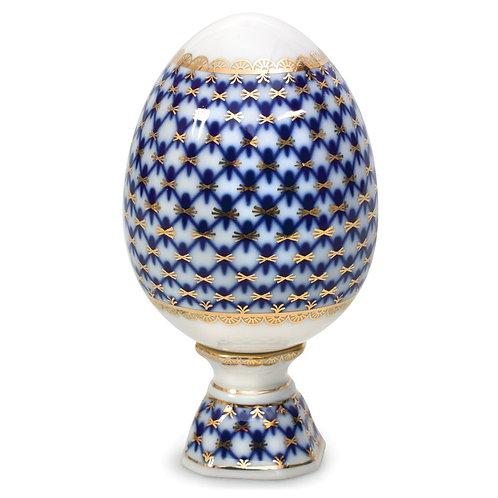Cobalt Net Porcelain Easter Egg