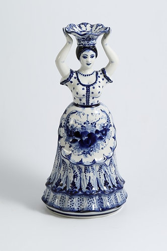 Nasten'ka Candlestick. Blue&White Porcelain. Gzhel.