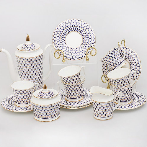 Cobalt Net 15-Piece Coffee Set for 6 Persons