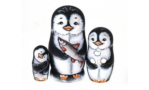 Matryoshka Penguin&Fish/3dolls/11cm