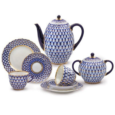 Cobalt Net 20 pc. Coffee Set for 6 persons
