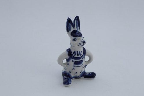 Bossy Bunny Figure. Blue&White Porcelain. Gzhel.