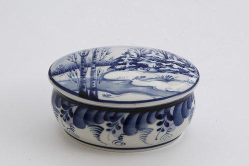 Oval Box. Blue&White Porcelain. Gzhel.