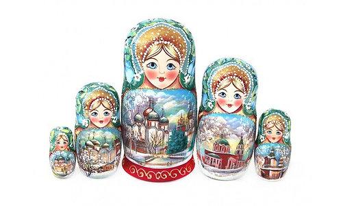 """Matryoshka """"Russia""""/ 5 dolls/ 17cm"""